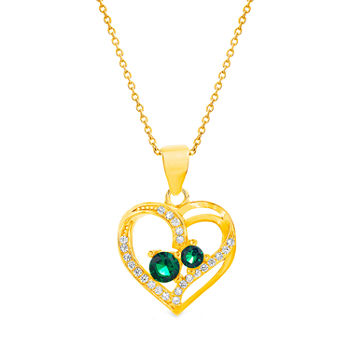 Silver Treasures Emerald Gold Over Silver 18 Inch Cable Heart Pendant Necklace