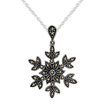 Sparkle Allure Marcasite Pure Silver Over Brass 18 Inch Link Snowflake Pendant Necklace