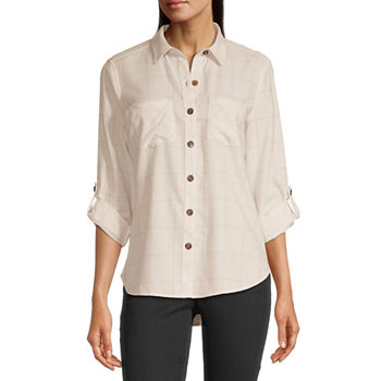 a.n.a Womens Long Sleeve Flannel Blouse