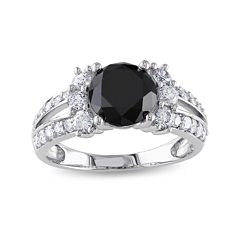 Midnight Black Diamond 2⅝ CT. T.W. White and Color-Enhanced Black Diamond 14K White Gold Engagement Ring