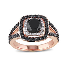 Midnight Black Diamond 2 CT. T.W. White and Color-Enhanced Black Diamond 14K Rose Gold Ring