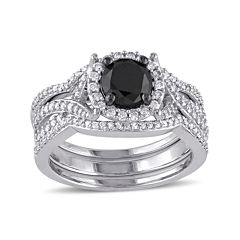 Midnight Black Diamond 1½ CT. T.W. White and Color-Enhanced Black Diamond Bridal Ring Set