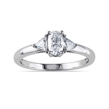 3/4 CT. T.W. Diamond 14K White Gold Oval Ring