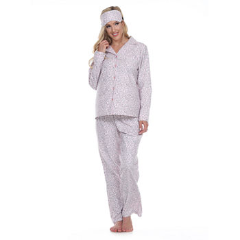 White Mark Womens Long Sleeve Pant Pajama Set 3-pc.