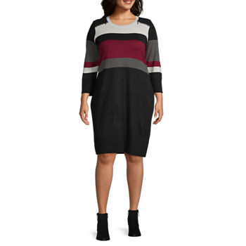 Studio 1-Plus Long Sleeve Sweater Dress