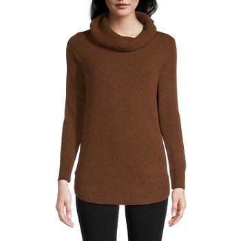 St. John's Bay-Tall Womens Cowl Neck Long Sleeve Pullover Sweater
