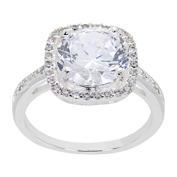 Sparkle Allure Cubic Zirconia Pure Silver Over Brass Round Halo Cocktail Ring