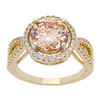 Sparkle Allure Cubic Zirconia 14K Gold Over Brass Round Halo Cocktail Ring