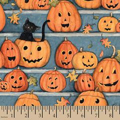 Halloween Pumpkin Stares Panel Fabric