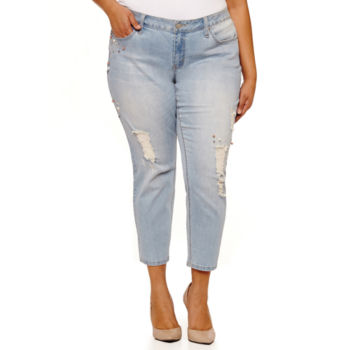 plus size embellished jeans for women - jcpenney