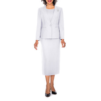 Giovanna Signature Women\'s 3-piece Microfiber Collarless Skirt Suit - Plus