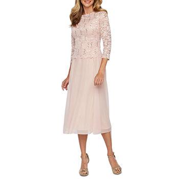 fb8e960766c35 Jackie Jon 3/4 Sleeve Lace Fit & Flare Dress