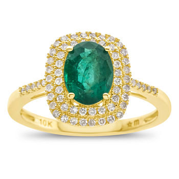 Womens Genuine Emerald & 1/3 CT. T.W. Diamond 10K Gold Cocktail Ring