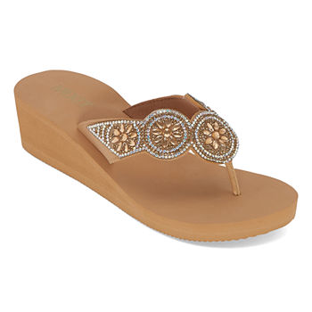 Mixit Womens Five Disk Wedge Flip-Flops