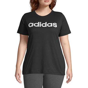 adidas Womens Crew Neck Short Sleeve T-Shirt Plus