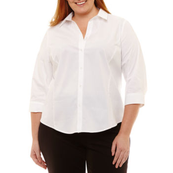 Plus Size Button Front Shirts Tops For Women Jcpenney