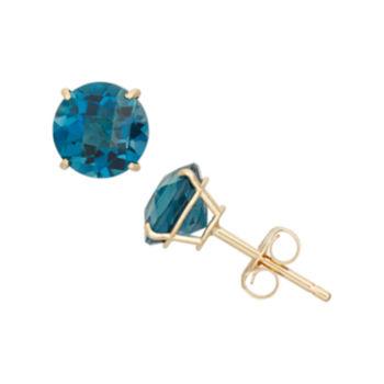 Fine Jewelry 1/5 CT. T.W. Genuine Blue Blue Topaz 10K Gold 9.5mm Stud Earrings oVA0M