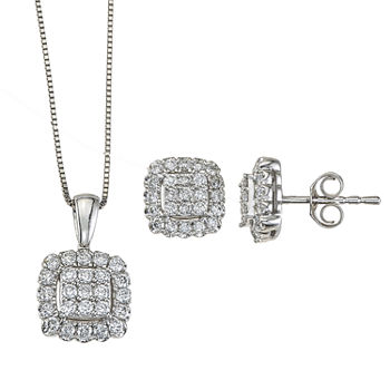 Diamond Blossom 3/4 CT. T.W. Genuine White Diamond 14K White Gold 2-pc. Jewelry Set