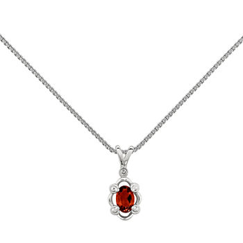 Womens Diamond Accent Genuine Red Garnet Sterling Silver Pendant Necklace
