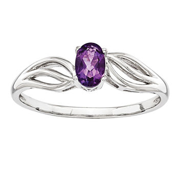 Womens Genuine Purple Amethyst Sterling Silver Solitaire Cocktail Ring