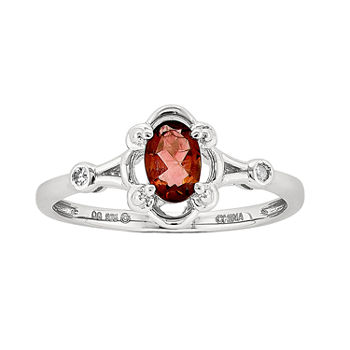 Womens Diamond Accent Genuine Red Garnet Sterling Silver Delicate Cocktail Ring