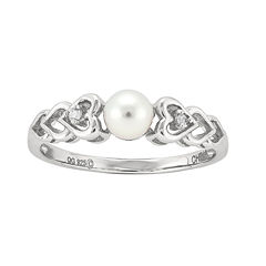 Womens Diamond Accent White Pearl Sterling Silver Delicate Ring