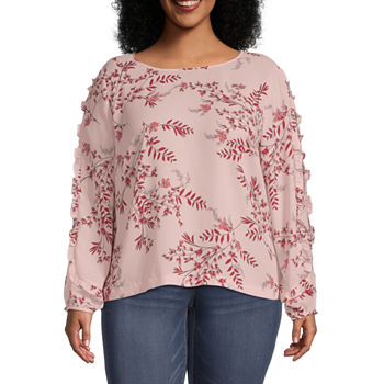 Liz Claiborne-Plus Womens Crew Neck Long Sleeve Blouse