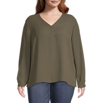 Liz Claiborne-Plus Womens V Neck Long Sleeve Blouse