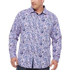 Steve Harvey Long Sleeve Button-Front Shirt-Big and Tall