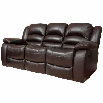 Emma Leather Pad Arm Reclining Sofa