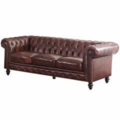 Stella Leather Roll-Arm Sofa