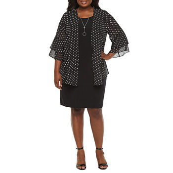 Alyx 3/4 Tiered Sleeve Jacket Dress with Necklace - Plus