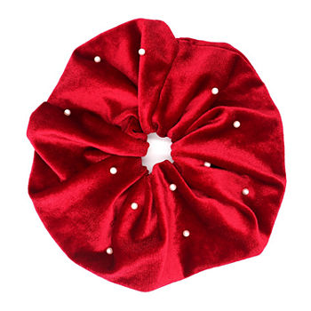 Mixit Velvet Simulated Pearl Oversized Scrunchie Hair Ties