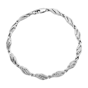 Silver Reflections Diamond Accent 7 1/4 Inch Link Round Tennis Bracelet
