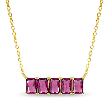 Silver Treasures Ruby 14K Gold Over Silver 16 Inch Rolo Rectangular Pendant Necklace
