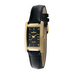 Peugeot® Womens Black Leather Strap Slim Watch
