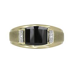 Mens Genuine Onyx & Diamond-Accent 10K Yellow Gold Ring