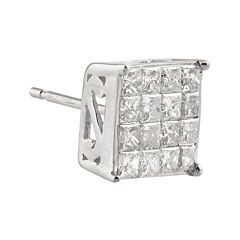1/2 CT. T.W. Diamond 10K White Gold Half Stud Earring