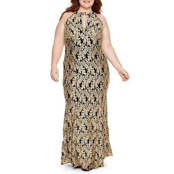 R & M Richards Sleeveless Halter Lace Evening Gown-Plus