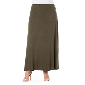 24/7 Comfort Apparel Elastic Waist Maxi Skirt - Plus