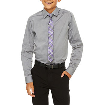 Van Heusen Flex Big Boys Button Down Collar Long Sleeve Shirt + Tie Set