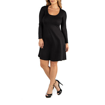 24/7 Comfort Apparel Long Sleeve Flared T-Shirt Dress - Plus