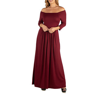 24/7 Comfort Apparel Off Shoulder Pleated Waist Maxi Dress - Plus