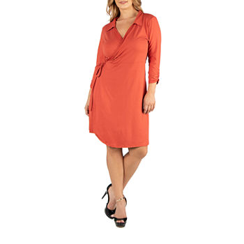 24/7 Comfort Apparel Knee Length Collared Wrap Dress - Plus