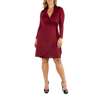 24/7 Comfort Apparel Knee Length Long Sleeve Wrap Dress - Plus