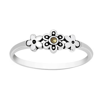 Itsy Bitsy Marcasite Sterling Silver Flower Band