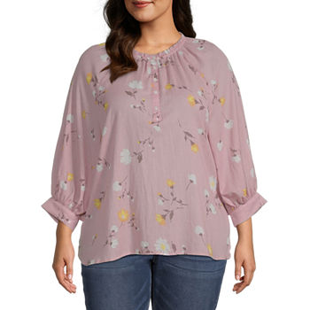 a.n.a-Plus Womens Round Neck 3/4 Sleeve Blouse