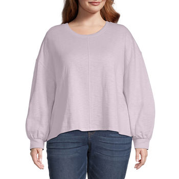 a.n.a Plus Womens Round Neck Long Sleeve Sweatshirt