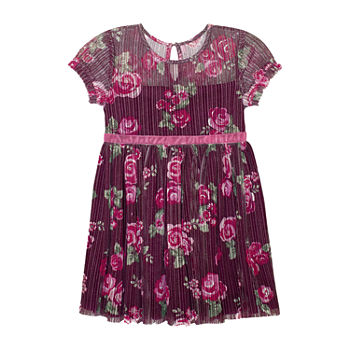 Nannette Baby Toddler Girls Short Sleeve Floral A-Line Dress