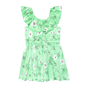 Nannette Baby Toddler Girls Sleeveless Floral A-Line Dress